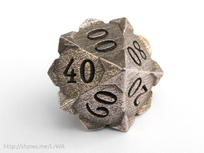 'Starry' 10D10 Die (Decader of Percentile D10) in Stainless Steel