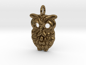 Smiley Owl Pendant in Polished Bronze