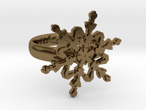 Snowflake Ring 2 d=16mm h35d16 in Polished Bronze