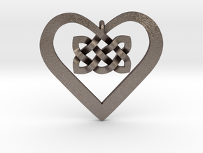 Coduro Celtic Heart in Polished Bronzed Silver Steel