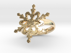 Snowflake Ring 2 d=17mm h35d17 in 14K Yellow Gold