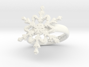 Snowflake Ring 2 d=17mm h35d17 in White Processed Versatile Plastic