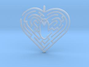 Heart Maze-shape Pendant 1 in Smooth Fine Detail Plastic