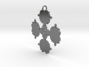 Mandelbrot Flake Pendant in Fine Detail Polished Silver