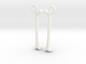 Bone Earrings in White Processed Versatile Plastic