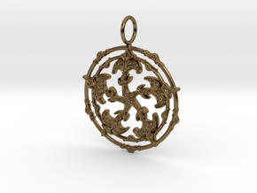 Baroque Fleur de Lys Pentagram pendant in Polished Bronze