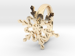 Snowflake Ring 2 d=18mm h35d18 in 14K Yellow Gold