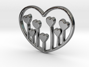 Heart's Garden Pendant - Amour Collection in Fine Detail Polished Silver