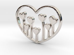Heart's Garden Pendant - Amour Collection in Rhodium Plated Brass