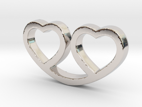 Two Hearts Together Pendant - Amour Collection in Rhodium Plated Brass
