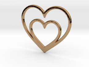 One Heart for Two Pendant - Amour Collection in Polished Brass