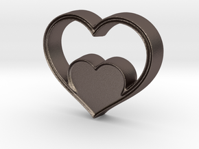 Two Hearts in One Pendant - Amour Collection in Polished Bronzed Silver Steel