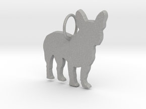 French Bulldog silhouette pendant made by 3d print in Aluminum