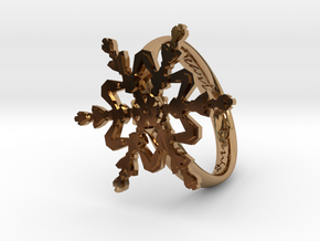 Snowflake Ring 2 d=19mm h35d19 in Polished Brass