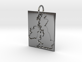 United Kingdom Silhouette Pendant  in Fine Detail Polished Silver