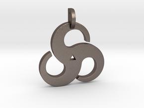 Triskelion Pendant 01 in Polished Bronzed Silver Steel