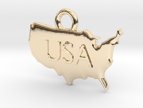 USA Pendant in 14K Yellow Gold