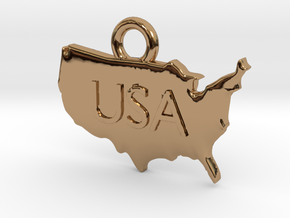 USA Pendant in Polished Brass