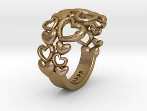 Heart By Heart Ring No2 57 in Polished Gold Steel