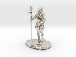 Dragonborn Ice Sorcerer in Rhodium Plated Brass