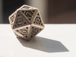 Icosahedron D20 in Polished Bronzed Silver Steel