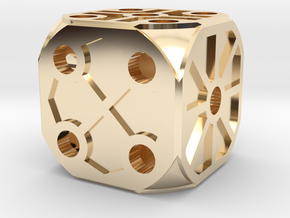 Rustic  Die - Small in 14K Yellow Gold