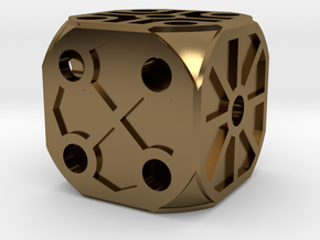Rustic Die - Large in Polished Bronze