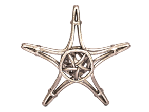 Starfish Wireframe Keychain in Polished Bronzed Silver Steel