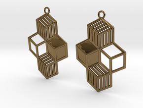 Cubic Earrings in Polished Bronze