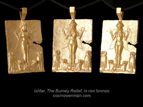 Queen of the Night, Ishtar pendant in Raw Bronze