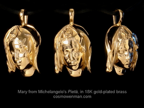 Michelangelo's Pietà, pendant in 18k Gold Plated Brass