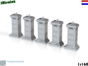5 Mailboxes Old Dutch (1:160) in Smooth Fine Detail Plastic