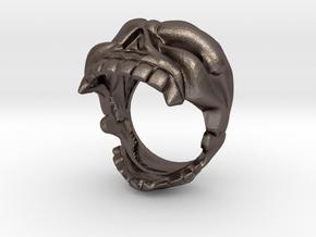 Reaper Skull Bottle Opener Ring size 13 in Polished Bronzed Silver Steel