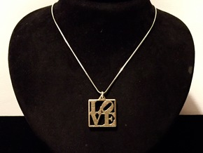LOVE Pendant ROBERT INDIANA (Thicker Version) in Polished Bronzed Silver Steel