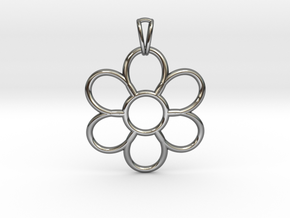 Share Your Smile With Me Sunflower Pendant (Big)  in Fine Detail Polished Silver