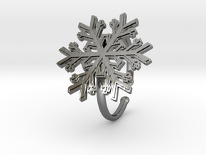 Snowflake Ring 1 d=19.5mm Adjustable h21d195a in Fine Detail Polished Silver