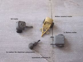 1/144 set of Luftwaffe trailers in White Natural Versatile Plastic