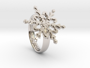 Snowflake Ring 2 d=16.5mm h35d165 in Rhodium Plated Brass