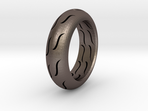 TIRE RING in Polished Bronzed Silver Steel