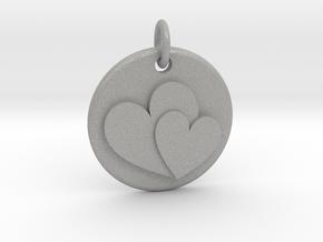 Two hearts pendant in Aluminum