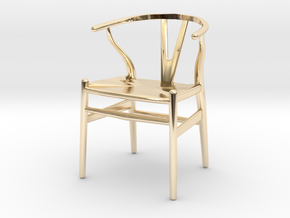 Wishbone style chair 1/12 scale  in 14k Gold Plated Brass