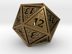 Hedron D20 SPINDOWN (Hollow), balanced die in Natural Bronze