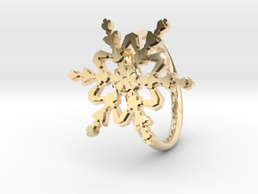 Snowflake Ring 2 d=16.5mm h21d165 in 14k Gold Plated Brass