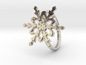 Snowflake Ring 2 d=16.5mm h21d165 in Rhodium Plated Brass