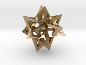 Tetrahedron 4 compound earring in Polished Gold Steel
