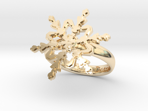 Snowflake Ring 2 d=17.5mm h35d175 in 14k Gold Plated Brass