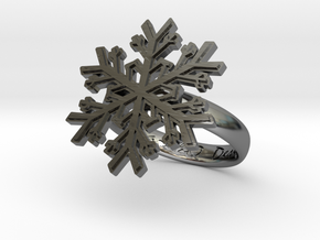 Snowflake Ring 1 d=17.5mm h35d175 in Fine Detail Polished Silver