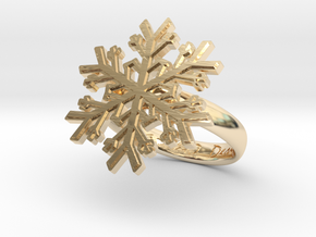 Snowflake Ring 1 d=17.5mm h35d175 in 14k Gold Plated Brass