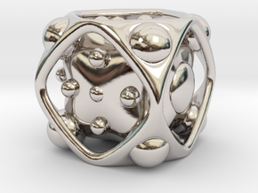 Dice No.2 S (balanced) (1.9cm/0.75in) in Rhodium Plated Brass