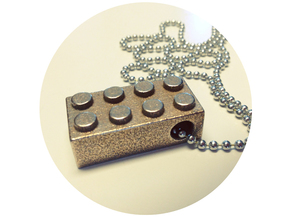 Lego-inspired Pendant in Polished Bronzed Silver Steel